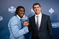 Quarterback Robert Griffin III (Baylor) and quarterback Andrew Luck (Stanford) on the red carpet during the 2012 NFL Draft at Radio City Music Hall in New York, NY, on April 26, 2012.