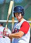 30 June 2012: Lowell Spinners' infielder Jason Thompson awaits his turn in the batting cage prior to a game against the Vermont Lake Monsters at Centennial Field in Burlington, Vermont. Mandatory Credit: Ed Wolfstein Photo