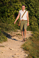 "Man walking a track in Russian National Park ""Samarskaya Luka"""
