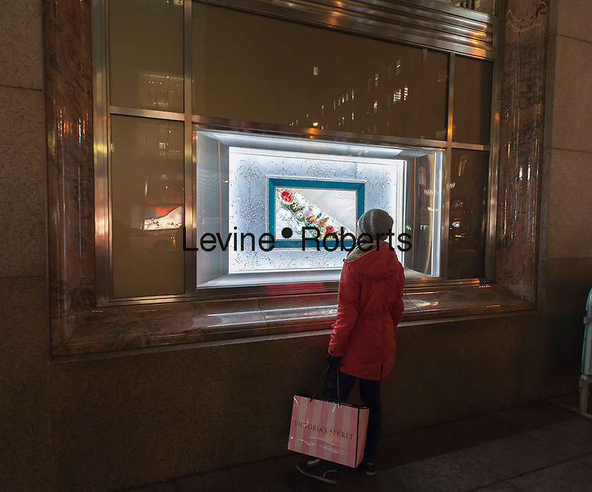 Christmas windows of Tiffany & Co. jewelers on Fifth Avenue in Midtown Manhattan in New York on Tuesday, December 13, 2016. (© Richard B. Levine)