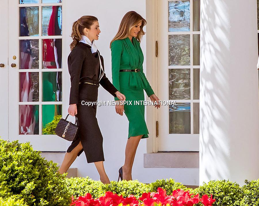 Queen Rania, King Abdullah & Melania Trump, White House
