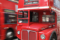 Red AEC (Associated Equipment Company), double-decker bus of London Transport, London, UK. Picture by Manuel Cohen