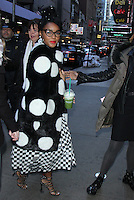 NEW YORK, NY - FEBRUARY 20: Janelle Monae at Good Morning America to honor Raye Montague who was breaking barriers in the US Navy as first African-American program manger to design a ship using computer in a male- dominated Navy and the inspiration for the film, Hidden Figures. New York City. February 20, 2017. Credit: RW/MediaPunch
