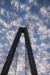 Arthur Ravenel Jr Bridge over the cooper river in Charleston South Carolina with light clouds above