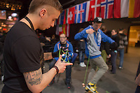 Participants practice during the Yoyo European Championships in Budapest, Hungary on February 24, 2013. ATTILA VOLGYI