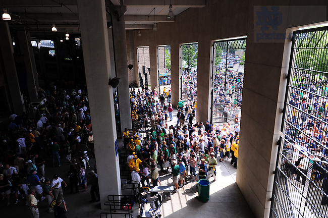 Fans enter ND Stadium