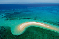 A sand quay forms above the Great Barrier Reef in Australia