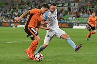 Melbourne, 3 December 2016 - JAMIE MACLAREN (9) of Brisbane Roar and JOSHUA ROSE (3) of Melbourne City fight for the ball in the round 9 match of the A-League between Melbourne City and Brisbane Roar at AAMI Park, Melbourne, Australia. Melbourne drew with Brisbane 1-1 (Photo Sydney Low / sydlow.com)