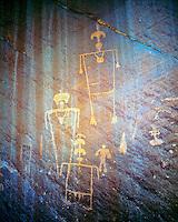 Kachina figures, Desecrated Panel, Ancient Anasazi rock art, Southern Utah, June