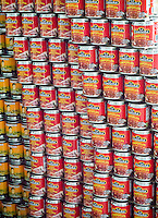 Cans of Mexican food in the 23rd annual Canstruction Design Competition in New York, seen on Friday, November 6, 2015, on display in Brookfield Place in Lower Manhattan. Architecture and design firm participate to design and build giant structures made from cans of food.  The cans are donated to City Harvest at the close of the exhibit. Over 100,000 cans of food were collected and will be used to feed the needy at 500 soup kitchens and food pantries. (© Richard B. Levine)