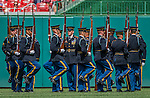 11 September 2016: The US Army Drill Team performs maneuvers on the field in Heroes Day pre-game ceremonies prior to a game between the Washington Nationals and the Philadelphia Phillies at Nationals Park in Washington, DC. The Nationals edged out the Phillies 3-2 to take the rubber match of their 3-game series. Mandatory Credit: Ed Wolfstein Photo *** RAW (NEF) Image File Available ***