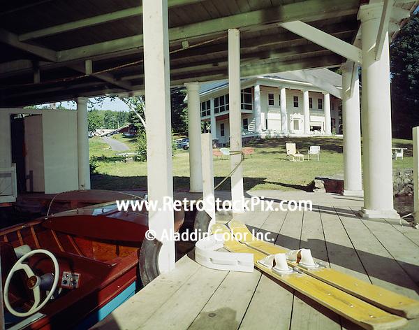 Thunderbird Motel, Diamond Point, NY. Boathouse with water skiis on the dock