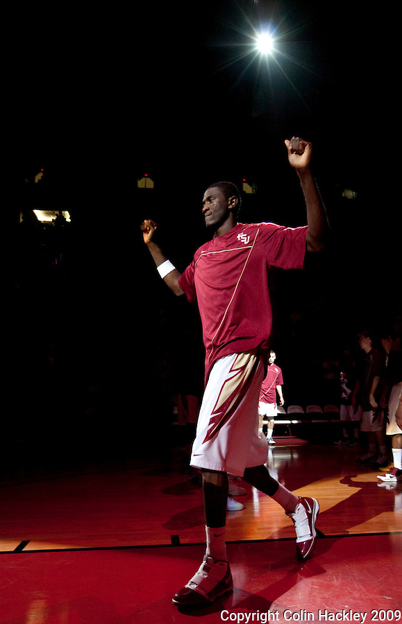 TALLAHASSEE, FL 12/11/09-FSU-AU BB09 CH03-Florida State's Solomon Alabi is introduced prior to the Auburn game Thursday at the Donald L. Tucker Center in Tallahassee...COLIN HACKLEY PHOTO
