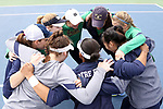 WINSTON-SALEM, NC - MARCH 17: Notre Dame's players huddle before the game. The Wake Forest University Demon Deacons hosted the University of Notre Dame Fighting Irish on March 17, 2017, at Wake Forest Tennis Center in Winston-Salem, NC in a Division I College Women's Tennis match. Notre Dame won the match 4-1.