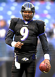 31 December 2006: Baltimore Ravens quarterback Steve McNair (9) warms up prior to a game against the Buffalo Bills at M&amp;T Bank Stadium in Baltimore, Maryland. The Ravens defeated the Bills 19-7. Mandatory Photo Credit: Ed Wolfstein Photo.<br />