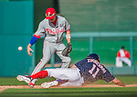 23 May 2015: Philadelphia Phillies infielder Cesar Hernandez is unable to turn the double-play but gets a sliding Ryan Zimmerman out at second in the 5th inning against the Washington Nationals at Nationals Park in Washington, DC. The Phillies defeated the Nationals 8-1 in the second game of their 3-game weekend series. Mandatory Credit: Ed Wolfstein Photo *** RAW (NEF) Image File Available ***