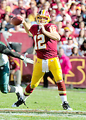 Washington Redskins quarterback John Beck (12) is set to pass in the fourth quarter against the Philadelphia Eagles at FedEx Field in Landover, Maryland on Sunday, October 16, 2011.  The Eagles won the game 20 - 13..Credit: Ron Sachs / CNP