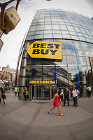 The Best Buy electronics store in Union Square in New York on Thursday, August 29, 2013. Best Buy's recently reported second-quarter profits were better than expected. The company has embarked on a turnaround program including cost reduction and price matching. (© Richard B. Levine)