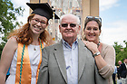 May 21, 2017; Three generations of Notre Dame graduates pose for a photo at Commencement 2017. From left to right: Mary Mecca '17, her grandfather Tom McGinley '65 and her mother Kelly Mecca '89. (Photo by Matt Cashore/University of Notre Dame)