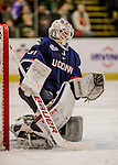 20 January 2017: University of Connecticut Husky Goaltender Rob Nichols, a Senior from Dallas, Texas, in second period action against the University of Vermont Catamounts at Gutterson Fieldhouse in Burlington, Vermont. The Huskies fell to the Catamounts 5-4 in the first game of their Home-and-Home Hockey East Series. Mandatory Credit: Ed Wolfstein Photo *** RAW (NEF) Image File Available ***