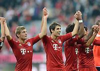 FUSSBALL   1. BUNDESLIGA  SAISON 2012/2013   2. Spieltag  02.09.2012 FC Bayern Muenchen - VfB Stuttgart       SCHLUSSJUBEL LAOLA; Toni Kroos, Javi Martinez und Dante (v.li.)