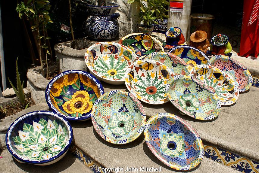Colourful ceramic sinks for sale in Playa del Carmen, Riviera Maya, Quintana Roo, Mexico.