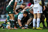 Mike Williams of Leicester Tigers looks on at a scrum. Aviva Premiership match, between Leicester Tigers and Exeter Chiefs on March 6, 2016 at Welford Road in Leicester, England. Photo by: Patrick Khachfe / JMP