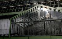 Desert and Arid Lands Glasshouse, 1930s, Jardin des Plantes, Museum National d'Histoire Naturelle, Paris, France. Detail of entrance to the glass and metal structure.
