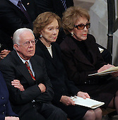 Former United States President Jimmy Carter, former first lady Roslyn Carter and former first lady Nancy Reagan follow the proceedings of the State Funeral for former United States President Gerald R. Ford at the Washington National Cathedral, in Washington, D.C. on Tuesday, January 2, 2007..Credit: Ron Sachs / CNP.[NOTE: No New York Metro or other Newspapers within a 75 mile radius of New York City].