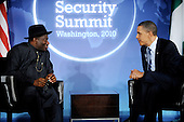 United States President Barack Obama holds a courtesy call with Acting President Dr. Goodluck E. Jonathan of Nigeria at the Blair House during the Nuclear Security Summit, Sunday, April 11, 2010 in Washington, DC. .Credit: Olivier Douliery / Pool via CNP