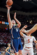 College Park, MD - DEC 29, 2016: Connecticut Huskies center Natalie Butler (51) goes up strong to the basket over Maryland Terrapins guard Destiny Slocum (5) during the game between No. 1 UConn and the No. 3 Terrapins at the XFINITY Center in College Park, MD. UConn defeated Maryland 87-81. (Photo by Phil Peters/Media Images International)