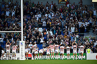 Japan players celebrate their win with the crowd. Rugby World Cup Pool B match between South Africa and Japan on September 19, 2015 at the Brighton Community Stadium in Brighton, England. Photo by: Patrick Khachfe / Onside Images