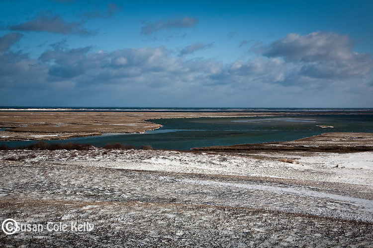 View of Nauset Marsh from Fort Hill,  Eastham, Cape Cod National Seashore, MA, USA