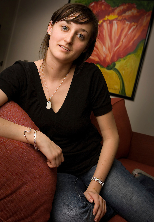 Slug: He/Gardasil.Date: 03-29-2007.Photographer: Mark Finkenstaedt FTWP.Location: 607-D 23rd St., NW--GW. Washington, DC.Caption: Sierra Strattner, a 20 year old Junior at GW. . A story is about what young people know about the Human Papillomavirus (HPV) and the vaccine to prevent cervical cancer. Since the cervical cancer vaccine Gardasil came on the market last June, health authorities and student leaders at colleges and universities like GW have been waging a campaign to inform young people about the vaccine ..© Mark Finkenstaedt All Rights Reserved. For the use of Brook Rose for promotional and advertising use. No third party sales or transfers.