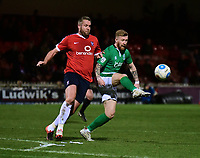 Lincoln City's Alan Power shields the ball from York City's Jon Parkin<br /> <br /> Photographer Andrew Vaughan/CameraSport<br /> <br /> The Buildbase FA Trophy Semi-Final First Leg - York City v Lincoln City - Tuesday 14th March 2017 - Bootham Crescent - York<br />  <br /> World Copyright &copy; 2017 CameraSport. All rights reserved. 43 Linden Ave. Countesthorpe. Leicester. England. LE8 5PG - Tel: +44 (0) 116 277 4147 - admin@camerasport.com - www.camerasport.com