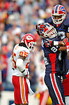 13 November 2005: Buffalo Bills wide receiver Lee Evans (83) celebrates his touchdown reception with tight end Mark Campbell (84) while Kansas City Chiefs safety Greg Wesley (25) shows some disappointment at Ralph Wilson Stadium in Orchard Park, NY. The Bills defeated the Chiefs 14-3. ..Mandatory Photo Credit: Ed Wolfstein