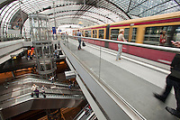 Berlin's new main train and subway station, Hauptbanhof. It is Europe's largest &quot;crossing&quot; station with above ground lines running east-west and underground lines running north-south..
