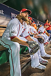 13 October 2016: Washington Nationals outfielder Jayson Werth awaits starting Game 5 of the NLDS against the Los Angeles Dodgers at Nationals Park in Washington, DC. The Dodgers edged out the Nationals 4-3, to take Game 5 of the Series, 3 games to 2, and move on to the National League Championship Series against the Chicago Cubs. Mandatory Credit: Ed Wolfstein Photo *** RAW (NEF) Image File Available ***
