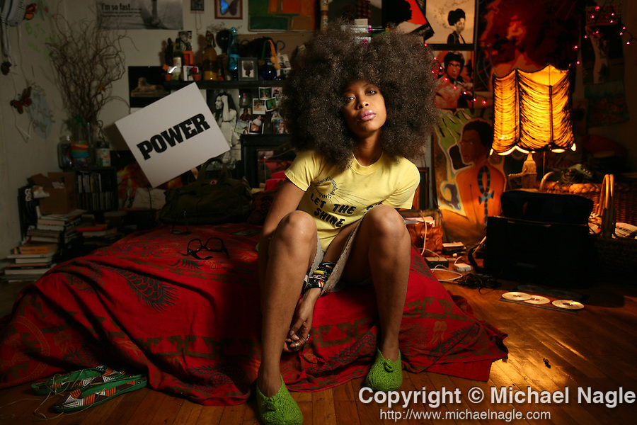 BROOKLYN, NY - FEBRUARY 13, 2008:  Erykah Badu in her apartment on February 13, 2008 in Brooklyn.  (Photograph by Michael Nagle)