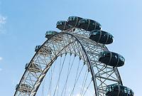 London Eye against a blue sky, London, England