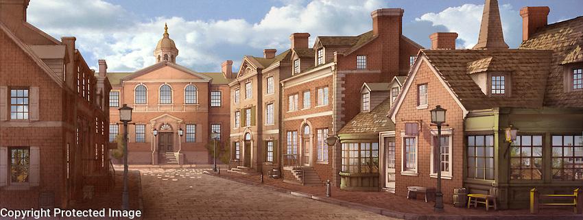 A colonial street scene. For Kenmark Scenic Backdrops, Inc.