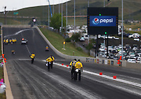 Jul 23, 2016; Morrison, CO, USA; NHRA safety safari officials inspect the track during qualifying for the Mile High Nationals at Bandimere Speedway. Mandatory Credit: Mark J. Rebilas-USA TODAY Sports