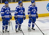 A.J. Reid (AFA - 24), Ben Kucera (AFA - 14), Evan Feno (AFA - 18) - The Harvard University Crimson defeated the Air Force Academy Falcons 3-2 in the NCAA East Regional final on Saturday, March 25, 2017, at the Dunkin' Donuts Center in Providence, Rhode Island.