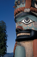 West coast totem pole in Stanley Park, Vancouver, British Columbia, Canada