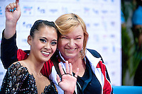 """September 09, 2015 - Stuttgart, Germany - (L-R) SERENA LU with coach NATALIYA KIRIYENKO USA wave from """"kiss & cry"""" after performing in AA qualifications at 2015 World Championships"""
