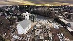 St. Sava Serbian Orthodox Church, and cemetery at sunset Jackson, Calif. Photographed using a sUAV/quadcaopter.