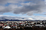 View of downtown Reykjavik taken from Perlan (the Pearl), in late March.