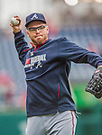 4 April 2014: Atlanta Braves first baseman Freddie Freeman warms up prior to the Washington Nationals Home Opening Game at Nationals Park in Washington, DC. The Braves edged out the Nationals 2-1 in their first meeting of the 2014 MLB season. Mandatory Credit: Ed Wolfstein Photo *** RAW (NEF) Image File Available ***