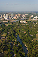 Austin, Texas, skyline with Barton Springs in the foreground.