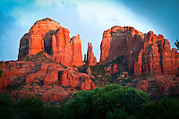 Cathedral Rocks - Sedona, Arizona (close up) Red Rock Crossing State Park.